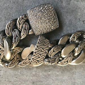 100% Authentic John Hardy Woven Bracelet w CZ